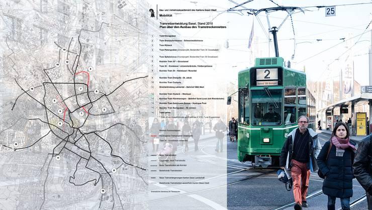 Das sind die Pläne des Kantons für das Basler Tramnetz.
