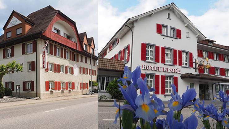 Links: Im Hotel Chrüz befand sich die Jodlerstube des Eidgenössische Jodlerverbandes von 2006 bis Ende 2014. Rechts: Das Hotel Krone in Aarburg beherbergt seit Anfang dieses Jahres die Jodlerstube.