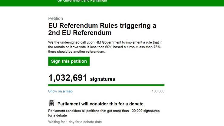 Über 1 Million Briten wollen eine erneute Abstimmung über den Brexit.