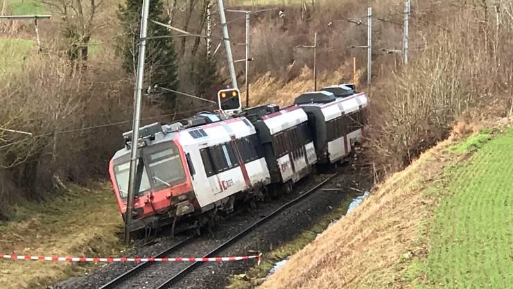 Nach einem Erdrutsch und einer Zugentgleisung ist die Bahnstrecke zwischen Lommiswil und Oberdorf im Kanton Solothurn auf der Linie Solothurn - Moutier BE unterbrochen.