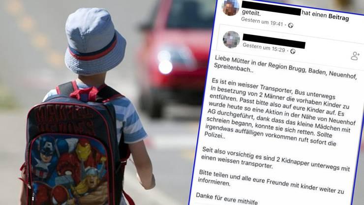 Mit solchen Postings schüren Eltern auf Facebook Angst vor Kindsentführern – die Polizei warnt vor voreiliger Hysterie.