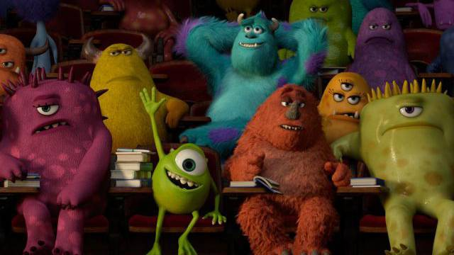 Das grüne Monster Mike tut alles, um ein professioneller Erschrecker zur werden. Das reicht nicht immer. Bild: Walt Disney