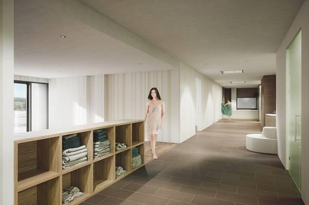 Die Saunalandschaft wird in den Räumlichkeiten des heutigen Restaurants erstellt.