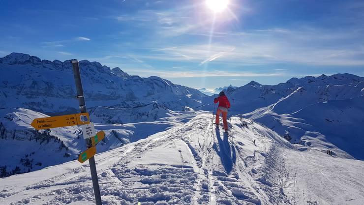 Der Blick von Pointe de l'Au Richtung Westen auf die Dents Blanches (links) und die Schweizer Seite des Skigebietes Portes du Soleil.