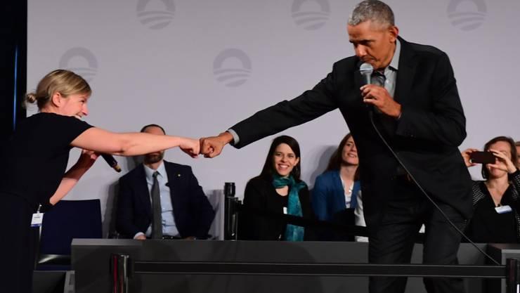 Barack Obama und Grünen-Politikerin Katharina Schulze (links) am Samstag in Berlin.