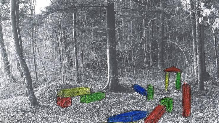 Beispiele dafür was auf dem Holzweg Thal zu erwarten sein wird: grosse, farbige Bauklötze, mit denen bestimmt nicht nur Kinder spielen werden...