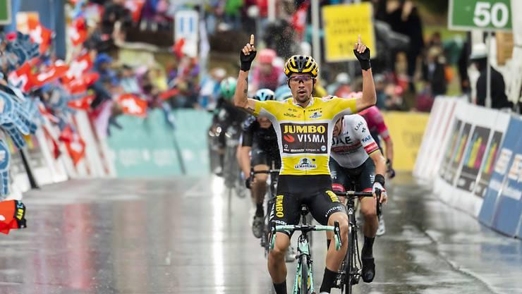Leader Primoz Roglic gewinnt im Regen die verkürzte 4. Etappe der Tour de Romandie, die mit einer Bergankunft im Wallis zu Ende ging