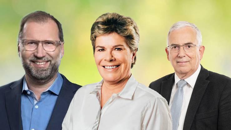 SPler Paul Bitschnau aus Windisch, SVP-Frau Doris Iten aus Birr und Roland Frauchiger (EVP, Thalheim)