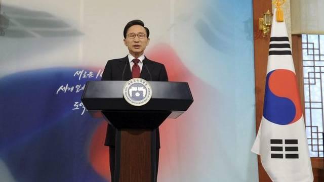 Südkoreanischer Präsident Lee Myung Bak bei seiner Neujahrsansprache.