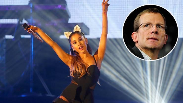 Ariana Grande bei einem Auftritt. Hallenstadion-CEO Felix Frei.