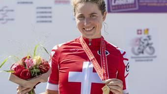 Marlen Reusser nach ihrem Triumph bei den Schweizer Zeitfahr-Meisterschaften
