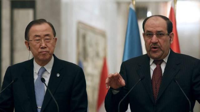 UNO-Generalsekretär Ban mit Iraks Premier al-Maliki in Bagdad