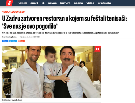Novak Djokovic with the restaurant operator Erik Pavin and his grandson.