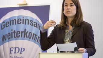 Nimmt den Parteimitgliedern den Klima-Puls: FDP-Präsidentin Petra Gössi, hier beim Wahlkampfauftakt in Schachen AG. (Archiv)