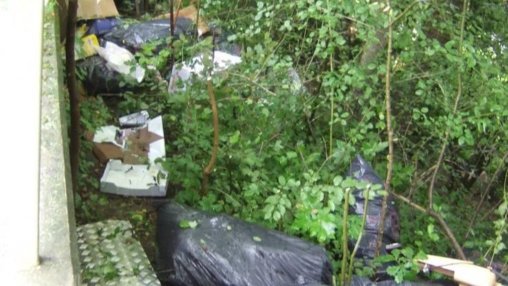 Die Umweltverschmutzer haben rund 30 prall gefüllte 110-Liter-Säcke im Wald deponiert.