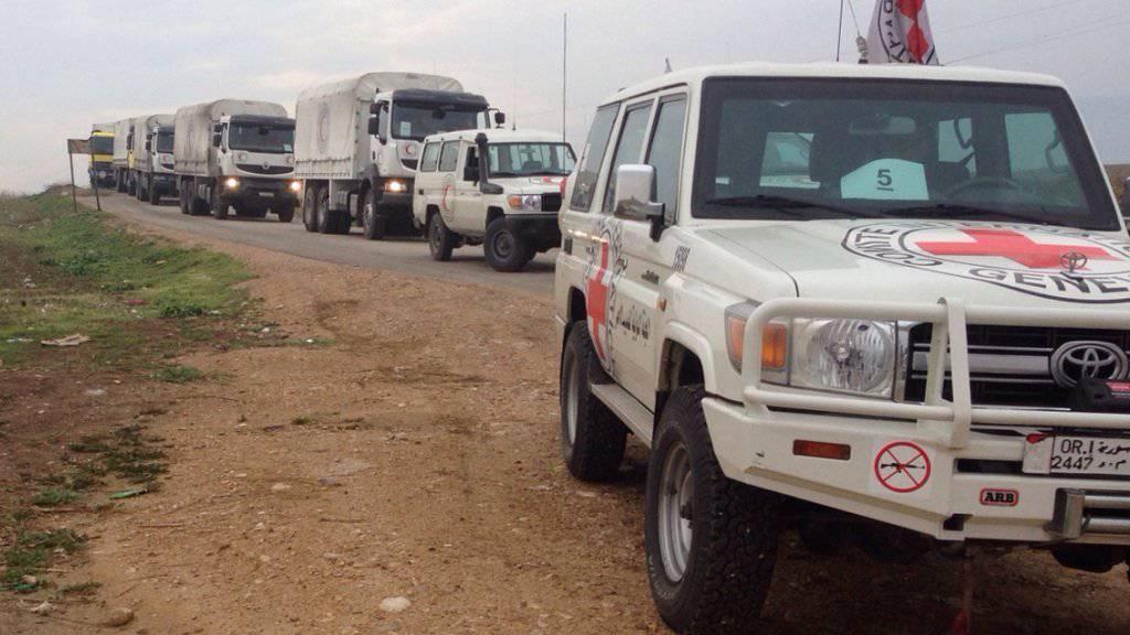 Der Hilfskonvoi auf dem Weg nach Madaya.