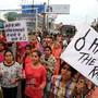 Hängt die Vergewaltiger: Das Gericht folgte diesem Wunsch eines Protestmarschs vom 1. Juli in Mandsaur.