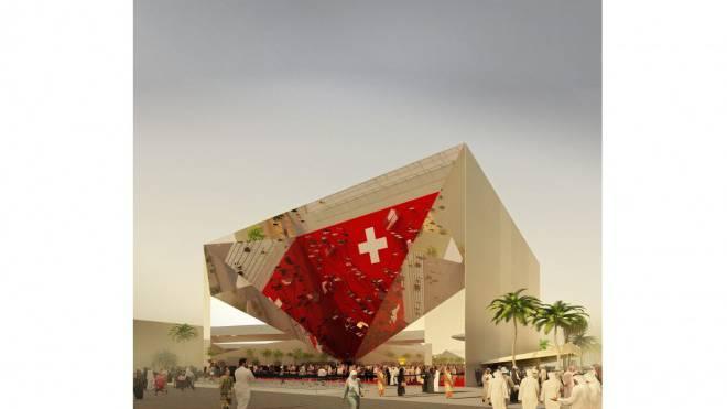 An der nächsten Weltausstellung erstellt die Schweiz einen riesigen Spiegel: Das Publikum soll Teil des Kunstwerks werden. Foto: Visualisierung/OOS AG