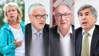 Von links: Jacqueline de Quattro, Umweltdirektorin im Kanton Waadt (FDP); Peter Gomm, ehemaliger Sozialdirektor im Kanton Solothurn (SP); Pierre-Yves Maillard, ehemaliger Sozialdirektor im Kanton Waadt (SP); Christoph Eymann sitzt als eh. Basler Regierungsrat bereits im Nationalrat (LDP).