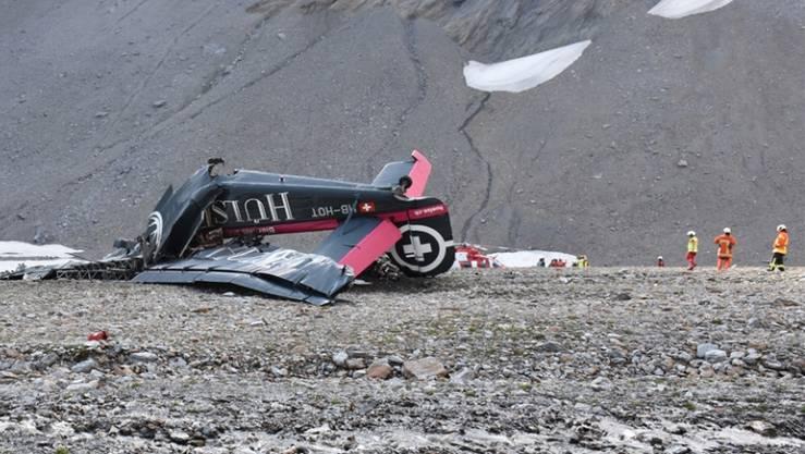 Die Untersuchung zu den Ursachen des Absturzes der Ju-52 bei Flims GR wird laut dem Aviatikexperten Sepp Moser zur Detektivarbeit. (Handout Kantonspolizei Graubünden)