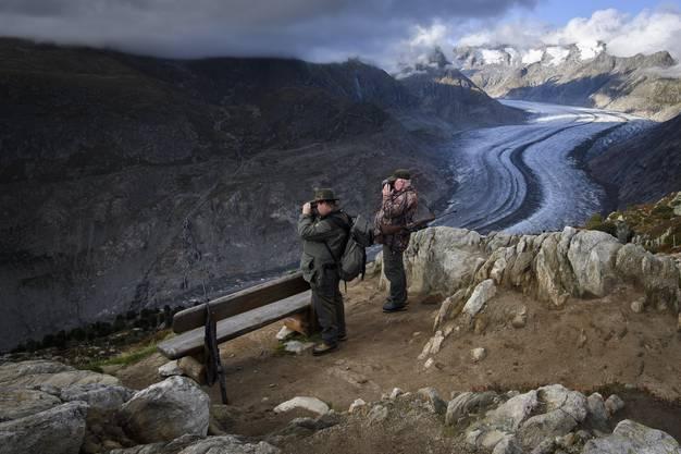 Auch der Aletschgletscher im Wallis schwindet. (KEYSTONE/Anthony Anex)
