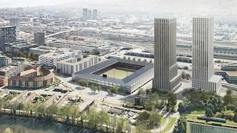 """Ab der Saison 2022/23 könnte der Ball im neuen Hardturm-Stadion rollen. Die Stadtzürcher Stimmberechtigten haben dem Projekt """"Ensemble"""" zugestimmt. Es besteht aus Genossenschaftswohnungen, einem Fussballstadion und zwei Hochhäusern. Insbesondere gegen diese ist bereits Widerstand angekündigt."""