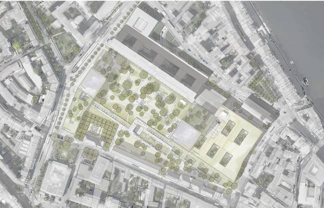 Blick aus der Vogelperspektive auf das Neubau-Projekt.