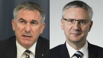 Fraktionschef Andreas Glarner (rechts) riet Bildungsdirektor Alex Hürzeler (links), sich gut zu überlegen, auf welcher Seite er stehe.