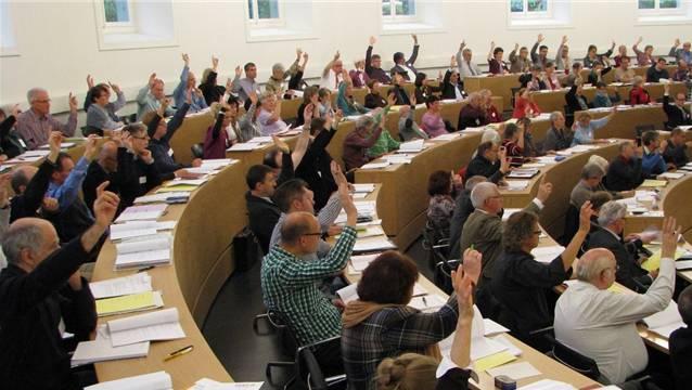 Blick in die Synode im Grossratssaal in Aarau. Archiv