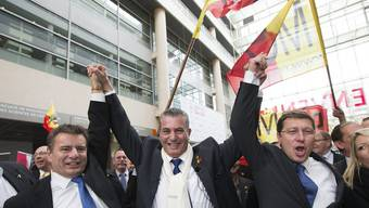 MCG-Wahlsiger:  Präsident Roger Golay, Eric Stauffer und Mauro Poggia (v.l).