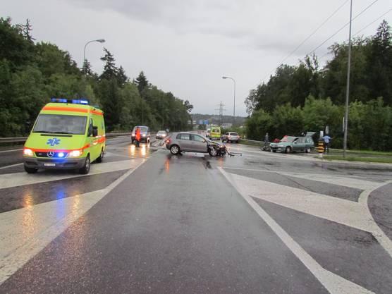 Unfallstelle in Niederlenz bei der Autobahnausfahrt