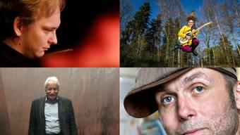 Oben: Andreas Wyss (li.) und Iandara Brobecker erhalten Förderpreise für ihr musikalisches Engagement. Unten: Den beiden Fotografen Heinz Rubin (li.) und André Albrecht werden Anerkennungspreise verliehen.