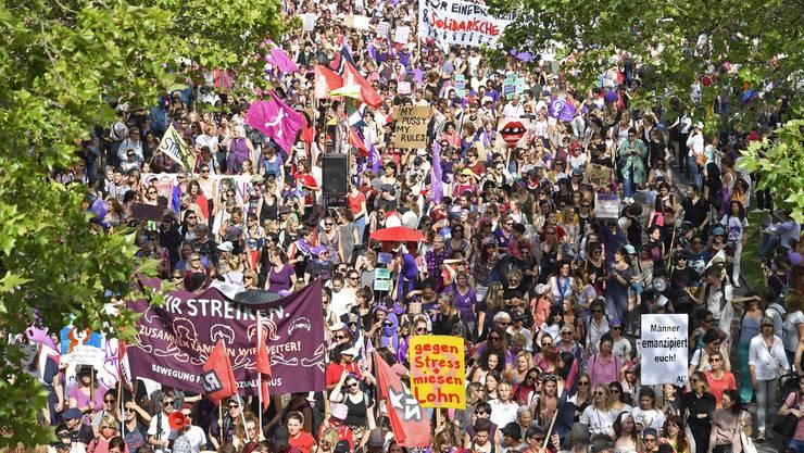 Demonstration am Frauenstreik in Zürich am Freitag, 14. Juni 2019.