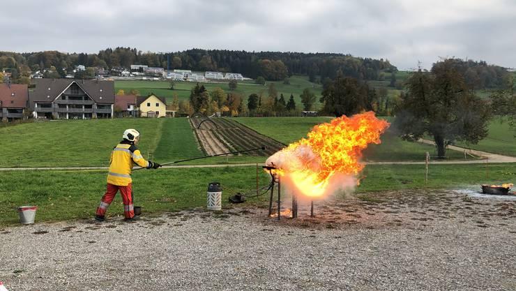 Die Feuerwehr Birmensdorf-Aesch zeigte, dass bestimmte Löschversuche zu ungewollten Pyro-Effekten führen können.