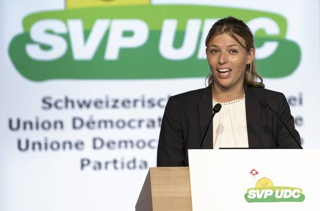Karin Bertschi an der SVP-Delegiertenversammlung 2017 in Thun.