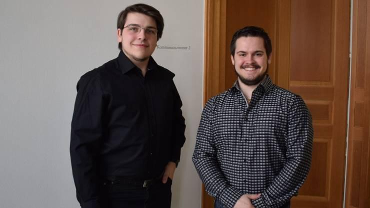 Der neugewählte Präsident Samuel Hasler (links) und der neugewählte Vize-Präsident Aaron Keller.