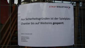 Der Spielplatz im Chantier wurde von der Stadt Solothurn aus Sicherheitsgründen gesperrt.