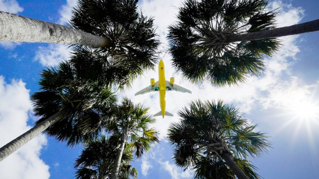 ARCHIV - Ein Passagierflugzeug landet am Flughafen Tampa im US-Bundesstaat Florida. Foto: Gene J. Puskar/AP/dpa
