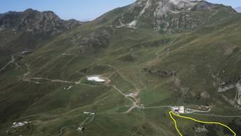 Der Aroser Bärenpark (gelb markiert) am Rande des Aroser Skigebiets.