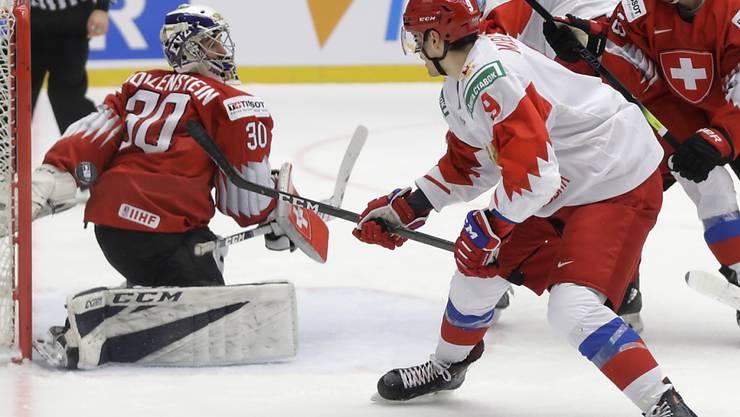 Der Schweizer Goalie Luca Hollenstein konnte trotz 33 Paraden das Schweizer Ausscheiden in den Viertelfinals der U20-WM nicht verhindern