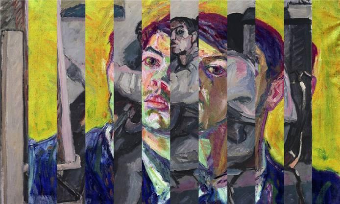 Das Ausstellungsplakat vermischt ein Selbstporträt von Bruno Weber (mit gelbem Hintergrund) mit einem seines frühen Mentors Max Gubler