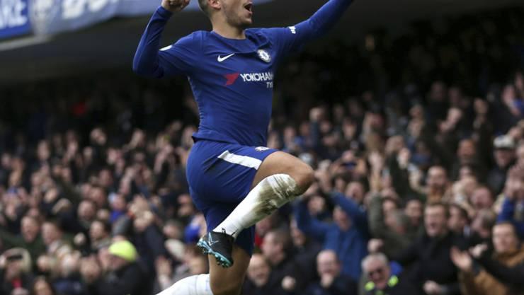 Eden Hazard feiert den ersten seiner beiden Treffer gegen Newcastle