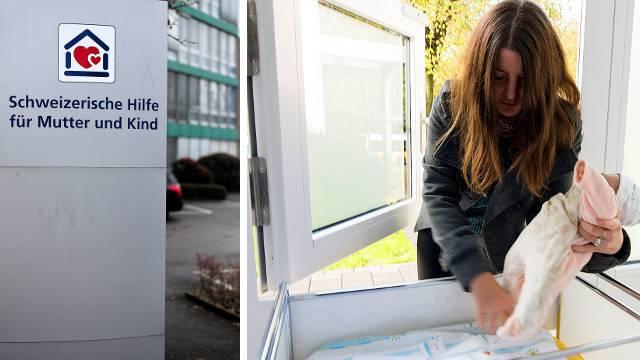 Die Stiftung Schweizerische Hilfe für Mutter und Kind hat ihren Sitz in Münchenstein (links) und lancierte die Babyfenster (rechts).