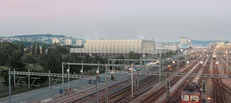 Auf dem Areal zwischen der Bernerstrasse Süd und der Vulkanstrasse soll dereinst dieses Eishockeystadion entstehen