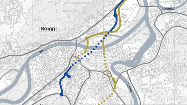 Blau eingezeichnet die aktuelle Variante, die weiter verfolgt wird. Grün sind die früheren Varianten aus dem Richtplan Zwischenergebnis 2017. zvg/BVU