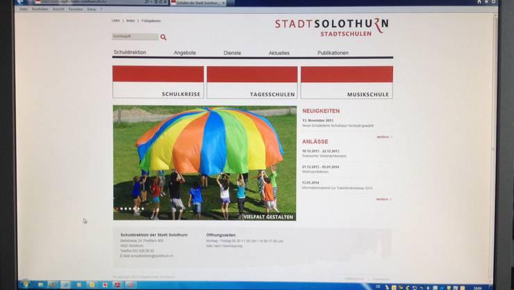 Der Internetauftritt der Solothurner Stadtschulen