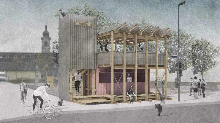 Die Visualisierung zeigt die «farbfabrik» von Jungwacht und Blauring Windisch in Brugg.Bild: zvg