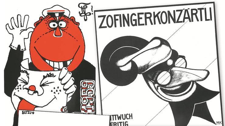 Links ist das erste Zofingerconzärtli-Plakat aus den 30er-Jahren zu sehen.