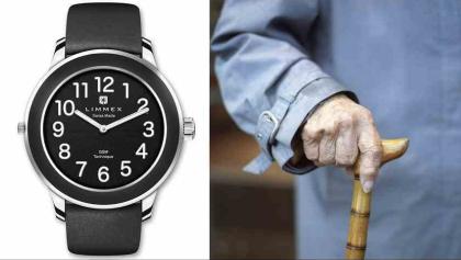Notruf-Uhr mit integriertem GPS der Schweizer Firma Limmex. Sie soll Senioren die Möglichkeit geben, sich im Notfall orten zu lassen.