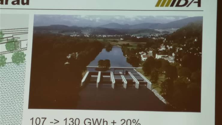 Das erste Bild des neuen Wasserkraftwerks in Aarau (an Stelle des markanten Turbinengebäudes mit dem Türmchen). Gezeigt wurde die Visualisierung an der IBA-Generalversammlung. Das Projekt soll Ende 2019/Anfang 2020 aufgelegt werden.
